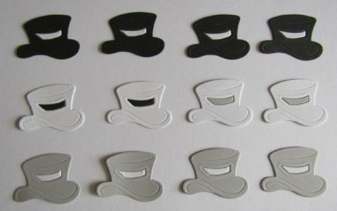 12 X DIE CUT TOP HATS IDEAL FOR WEDDINGS GAY WEDDINGS CIVIL PARTNERSHIPS GROOMS
